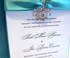 Embellishment Tiffany Wedding Invitations Elegant Letterpress Custom