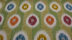 """GOING OUT OF RETAIL SALE Designer Fabric, Hamilton """"Rosette"""" Willow: Ikat-style dots and subtle striping  #Hamilton #fabric"""