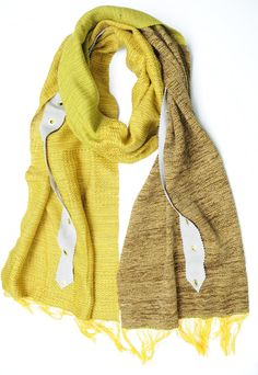 Emma one of a kind handwoven scarf with leather and grommet detail