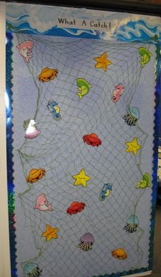 Front door: Mrs. Brantley's kindergarten catch. Ocean Themed Classroom Pics