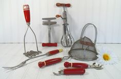 Red Wooden Handled Utensils Collection  Vintage 8 by DivineOrders