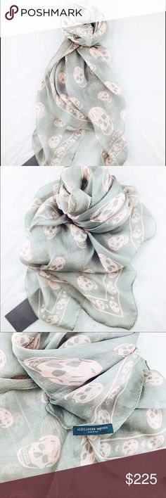 Alexander Mcqueen Grey Pink Skull Print Silk Scar Newly purchased literally my husband bought it for me for V/Day gift which was beyond sweet and only picked these colors out bec they couldnt get the scarf i really wanted as it is sold out now i believe. Tags were removed i believe by the own Alex mQ store but i still have them with the scarf! Great scarf great buy!!  Alexander McQueen silk-chiffon scarf Skull-print 100% silk Dry clean Made in Italy Length 120cm, width 104cm Alexander…