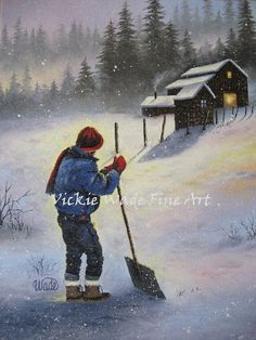 Farm Boy Snow Original Oil Painting 11X14 by VickieWadeFineArt