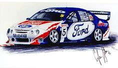 Glen Seton AU Falcon Car Prints, V8 Supercars, Australian Cars, Ford Galaxie, Ford Falcon, Car Drawings, Nice Cars, Mk1, Falcons