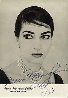 Maria Meneghini Callas, autographe 1958