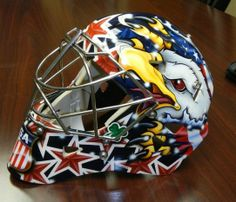 The goalie mask United States goaltender Ryan Miller will wear during the Olympic games. The mask was built by Warwick Mask Company in Port Huron, and painted by Bishop Designs out of Grand Blanc. Port Huron Times Herald photo
