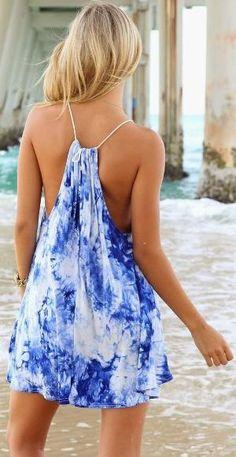 Blue shade print summer beach dress by leah