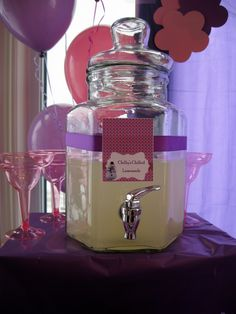 Doc Mcstuffins birthday party table decor.  Chilly's chilled lemonade.