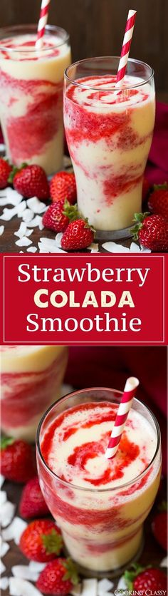 Strawberry Colada Smoothie – These are so refreshing on a hot summer day! Love the strawberry coconut flavor combo! Strawberry Colada Smoothie – These are so refreshing on a hot summer day! Love the strawberry coconut flavor combo! Yummy Smoothies, Smoothie Drinks, Yummy Drinks, Healthy Drinks, Yummy Food, Healthy Shakes, Protein Shakes, Energy Smoothie Recipes, Pineapple Smoothie Recipes