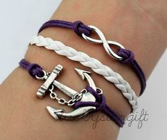 Infinity & cool silver anchor bracelet with purple rope white leather woven fashion bracelet charm bracelet innovative personality-Q286 by luckystargift, $3.29