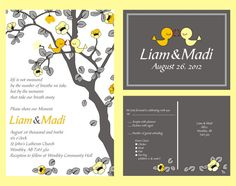 Wedding Invitation: with matching RSVP wedding save a date and wedding tree yellow and grey