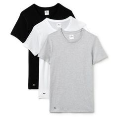Introducing the Lacoste Crew Neck 3 Pack T-shirts in Black, White and Grey, as always from Lacoste these Men's T-Shirts are super stylish and comfortable! Vans Hoodie, Grey Outfit, Mens Essentials, Lacoste Men, Tee Shirts, Tees, Herren T Shirt, Grey Shirt, Slim Fit
