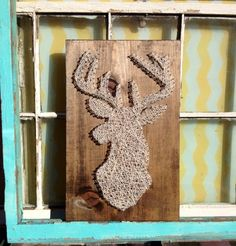 $49 Shopify Deer Silhouette String Art on Stained Wood #Handmade by NailedItDesign.etsy.com #ShopSmall