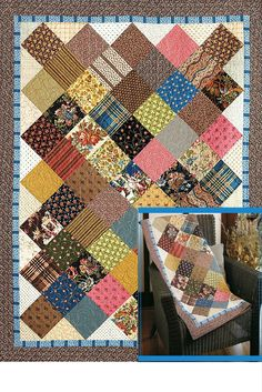 Kaye's Scrap Squares is one of those sophisticated scrap quilt patterns. Use leftover scraps of your favorite prints to make this great throw. With just one size square and very little piecing, you can complete this quilt top in an afternoon. Sophisticated and simple!