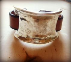Tribal Large Silver and Leather Cuff Bracelet by sweetfreedomshop