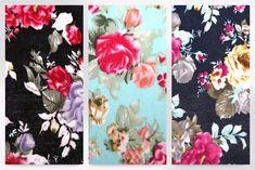 Floral Print Viscose Challis Dress Fabric (C7617-Navy-M)