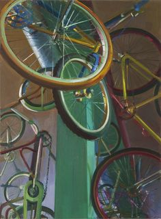 """Boyd Gavin, """"Bikes"""", oil on canvas Shop Ideas, Still Life, Printmaking, Oil On Canvas, The Incredibles, Bike, Paintings, Contemporary, Paper"""