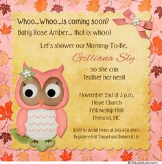 owl baby shower invitations | Fall Owl Baby Shower Invitation - Leaves Autumn