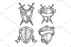 Old or retro medieval royal signs as shields by Elegant Solution on @creativemarket