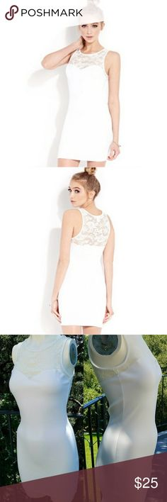 Forever 21 White lace bodycon Mini Dress Forever 21 white lace Mini dress 1 layer but see through on top where the lace is. 31 inches long, bust is 30 inches and waist is 25 inches. 95 % polyester 5 % spandex Forever 21 Dresses Mini