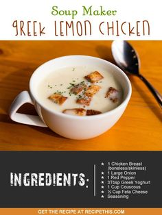Welcome to my soup maker Greek lemon chicken recipe. Sometimes it can get repetitive to be having the same kind of soups all the time in the soup maker. I know this because this is the trap that I… Cooker Recipes, Soup Recipes, Chicken Recipes, Detox Recipes, Free Recipes, Greek Lemon Chicken Soup, Lemon Pasta, World Recipes, Dessert