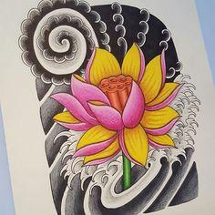@nemonessuno_art their beautiful lotus flower Japanese tattoo design.