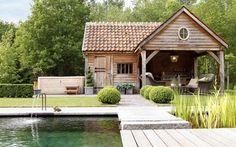 Bijgebouwen - Timeless Wood - Masters in outdoor wood projects Outdoor Rooms, Outdoor Living, Outdoor Wood Projects, Pool House Plans, Outside Living, Garden Buildings, Rustic Gardens, Patio Roof, Pool Houses