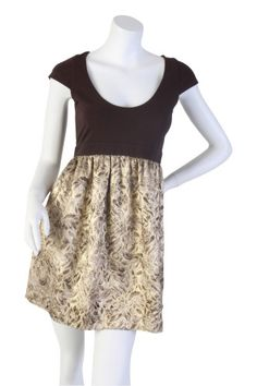 """Brand: Alice & Olivia  Size: Small  Style #: 72-635-104  RN #: 107677  Color: Brown upper, gold lower  Measurements: Bust – 15"""", Length – 31""""  Material: Brocade – 49% Rayon, 43% Poly, 5% Metal, 3% Nylon; Lining – 100% Silk; Jersey – 90% Cotton, 10% Lycra  Origin: USA – N.Y.C.  Condition: Excellent"""