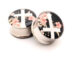 Items similar to Vintage Floral Cross Picture Plugs gauges - 1 1 1 1 inch on Etsy Cross Jewelry, Cross Earrings, Vintage Earrings, Vintage Jewelry, Tapers And Plugs, Cross Pictures, Cool Piercings, Piercing Ideas, Tunnels And Plugs