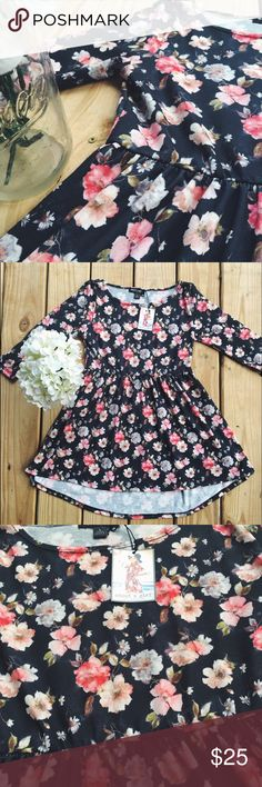 ✨Sale✨Picture Perfect floral Babydoll Top💐 This is the prettiest floral print I think I've ever seen on fabric! Love, love this brand new top/mini dress! It's super soft and has 3/4 sleeves. Material feels like a soft, light sweatshirt. I'm pretty sure it's a JUNIORS large and maybe a small in women's. 95% Polyester, 5% Spandex. About a girl Tops