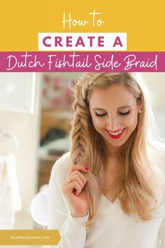 Today I'm going to take you step by step on how to create a dutch fishtail side braid. Dutch just means the braid pops out (and you braid your hair under instead of over)! This hairstyle is perfect for those days when you want a super cute hairstyle but also have your hair out of your face! Plus, fishtails are one of my favorite braids to do! With this step by step tutorial, it will be one of your favorites too! #fishtailbraid #hairstyle #hairtips