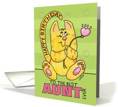 Happy Birthday for Aunt-Yellow Tabby Cat with Paw Print Flower card