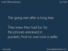 This happens every time we meet but we take a lot of snaps.only snaps Besties Quotes, Best Friend Quotes, Cute Quotes, Quote Friends, Bffs, Tiny Stories, Short Stories, School Days Quotes, Real Friendship Quotes