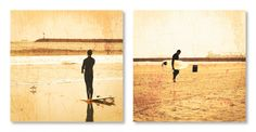 """Surf Photography, 8x8 Set of 2 Prints, Beach Photography, Vintage, Distressed, California Photography, Ocean, Surfer, """"Vintage Surf"""" by ShannonHowardPrints on Etsy https://www.etsy.com/listing/151815402/surf-photography-8x8-set-of-2-prints"""