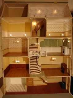 Dolls house - Brick Georgian Townhouse pic (lovely interior - like the staircase and how it narrows leading up to the servants quarters): DIY projects are not only tons of fun; they are also beneficial to you and your family! Doll House Plans, My Doll House, Barbie Doll House, Doll Houses, Miniature Rooms, Miniature Houses, Dollhouse Dolls, Dollhouse Miniatures, Victorian Dollhouse