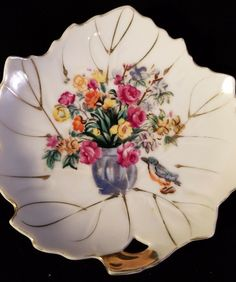 Leaf Shaped Plate Gold Trim Tray Porcelian Trinket Dish Flowers in Vase 1960s   Collectibles, Vintage, Retro, Mid-Century, 1960s   eBay!