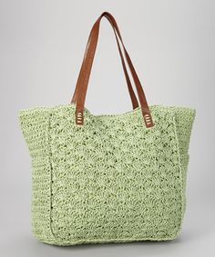 Green Paper Straw Tote by Straw Studios