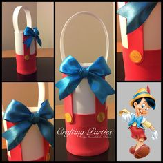 Everything is handmade out of craft foam. Birthday Gift Bags, First Birthday Parties, Pinocchio, Foam Crafts, Craft Foam, Party Favor Bags, Mickey Minnie Mouse, Disney Crafts, Conte