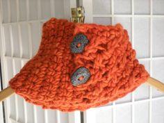 Crochet cowl - Merino wool unique button, closed bottom. $80.00, via Etsy.