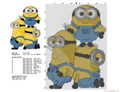 Minions together free cross stitch pattern 71 x 101 stitches 11 DMC threads