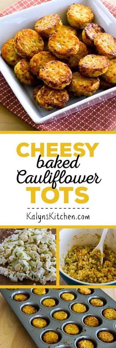 Low-Carb Cheesy Baked Cauliflower Tots are delicious for an appetizer or side dish and this tasty treat is also Keto, low-glycemic, gluten-free, and South Beach Diet friendly. [found on KalynsKitchen.com] #LowCarb #Keto #LowCarbCauliflowerTots #LowCarbSnack