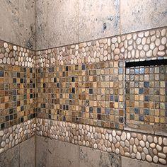 Bathroom Design Travertine Slate Shower Design, Pictures, Remodel, Decor and Ideas - page 249 Perhap Pebble Tile Shower, Slate Shower, Shower Floor, Rock Shower, Shower Walls, Shower Niche, Shower Pan, Diy Bathroom Remodel, Shower Remodel