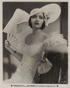 """Kay Francis in """"Mandalay"""" Costume design by Orry-Kelly gowns Epitome of femininity expresses in soft fabrics, flounces, a fan and a shady hat. Vintage Glamour, Old Hollywood Glamour, Golden Age Of Hollywood, Vintage Hollywood, Hollywood Stars, Vintage Beauty, Classic Hollywood, Hollywood Fashion, Hollywood Actresses"""