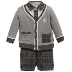 Tutto Piccolo Boys Grey Shorts, Top, Cardigan & Socks Set at Childrensalon.com