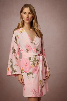 Painted Petal Robe from @BHLDN Look at the other photos of this one...the color looks less bright pink in the other photos.  This one is only like $60