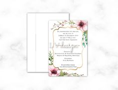 Floral Wedding Invitations, Place Cards, Place Card Holders
