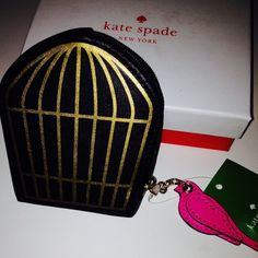 "Kate Spade bird caged coin purse BNWT Kate spade bird cage comes with bird pink charm on zipper. L 4"" W 3.5 comes with box. Will consider offers using the offer button only. No trades. 70 kate spade Bags"