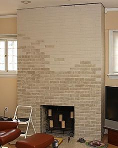Fireplace: Applying Paint to Brick