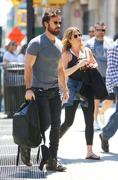 Hit the streets: The 47-year-old actress is in the Big Apple with husband Justin Theroux, 44, following a romantic vacation in The Bahamas that sparked pregnancy rumors after she sported a fuller midriff in a bikini