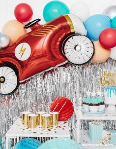 Car Foil Mylar Balloon – Momo Party 2nd Birthday Party For Boys, Race Car Birthday, Race Car Party, Cars Birthday Parties, Birthday Ideas, 36 Inch Balloons, Helium Balloons, Helium Tank, Car Themed Parties